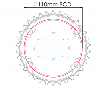 Raptor Chainring 110BCD Asymetric OVAL - Narrow Wide