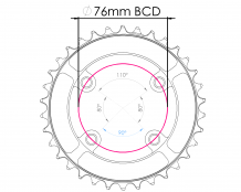 Raptor Chainring 76BCD - Narrow Wide